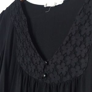 Painted Threads Black Blouse With Lace